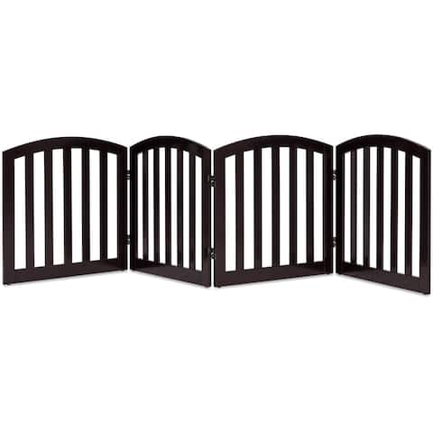 Gymax 24'' Configurable Folding Free Standing 6 Panel Wood Pet Dog Safety Fence Brown - 4 Panels