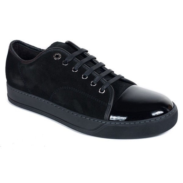 768ae8a34f4 Shop Mens Lanvin Black Suede Patent Calfskin Lace Up DBB1 Sneakers ...