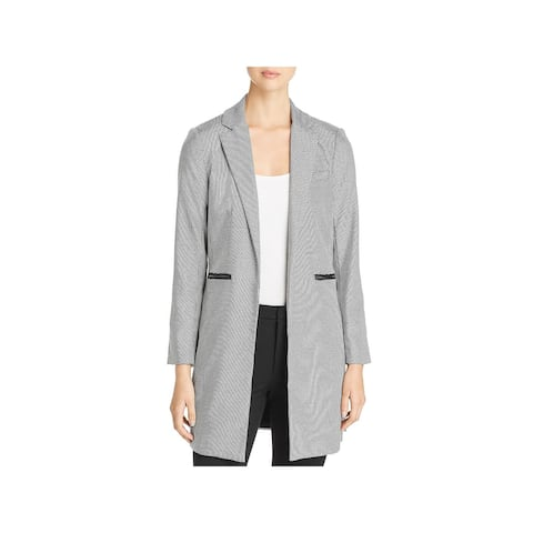 Kenneth Cole New York Womens Open-Front Blazer Houndstooth Topper