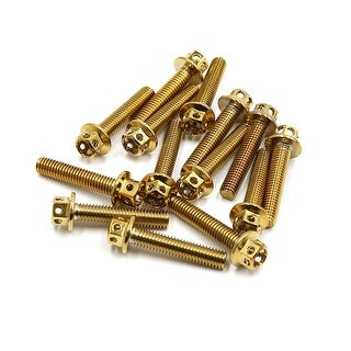 14pcs Gold Tone M6 X 30mm Motorcycle Titanium Alloy Hexagon Bolts Clips Screws