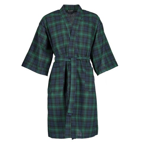 Leisureland Men's Plaid Broadcloth Robe