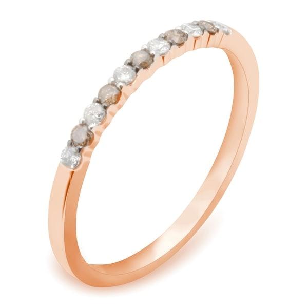 Prism Jewel 1.45MM 0.16CT Round Cut Natural Brown & White Diamond Wedding Band - White G-H