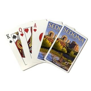 Sedona AZ - Cathedral Rock & Cairn - LP Artwork (Poker Playing Cards Deck)