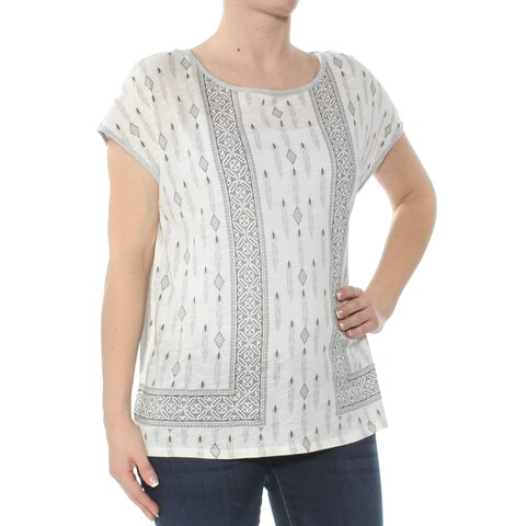 VINCE CAMUTO Womens Gray Geometric Short Sleeve Jewel Neck Top Size: S