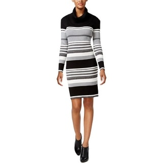 Connected Apparel Womens Sweaterdress Cowl Neck Striped