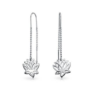 Sterling Silver Lotus Flower Modern Dangle Threader Earrings