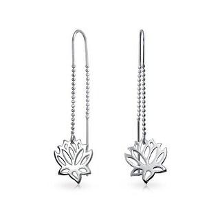 Sterling Silver Lotus Flower Modern Dangle Threader Earrings