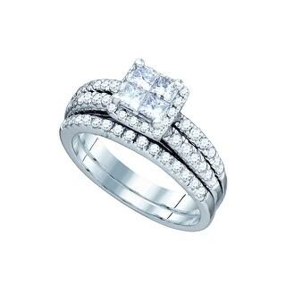 1 1/5Ctw Diamond Invisible Bridal Set White-Gold 14K