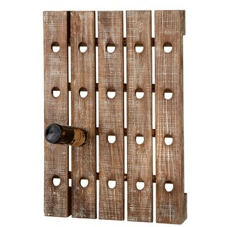 31.5 Brown Rustic Wooden Whitewashed Distressed 20-Bottle Wine Rack
