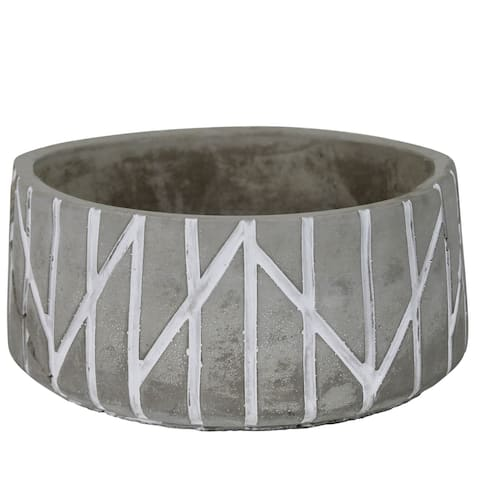 Bowl with Round Embossed Cement Body, Set of 4, Gray