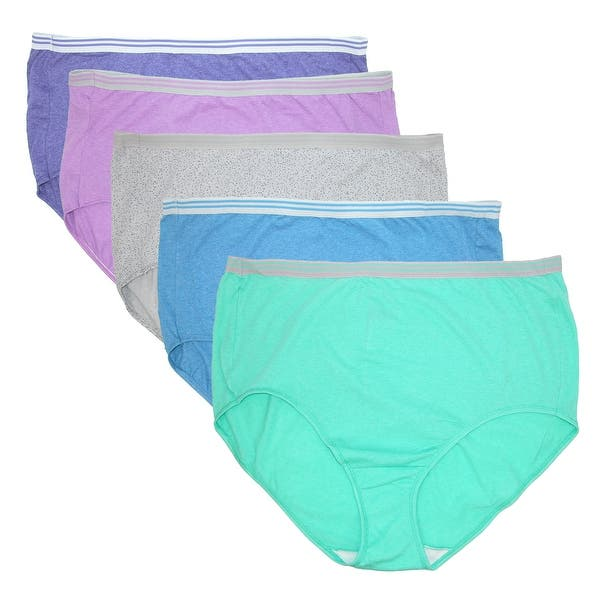 51076b70a2c50c Fruit of the Loom Women's Plus Size Heathered Briefs Underwear (5 Pair Pack)