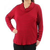 Womens Red Striped Long Sleeve Cowl Neck Hi-Lo Sweater  Size  1X