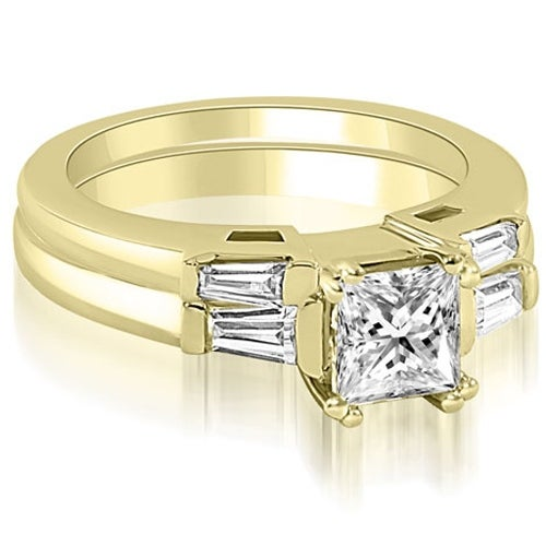 0.80 cttw. 14K Yellow Gold Princess Baguette Cut Three Stone Diamond Bridal Set