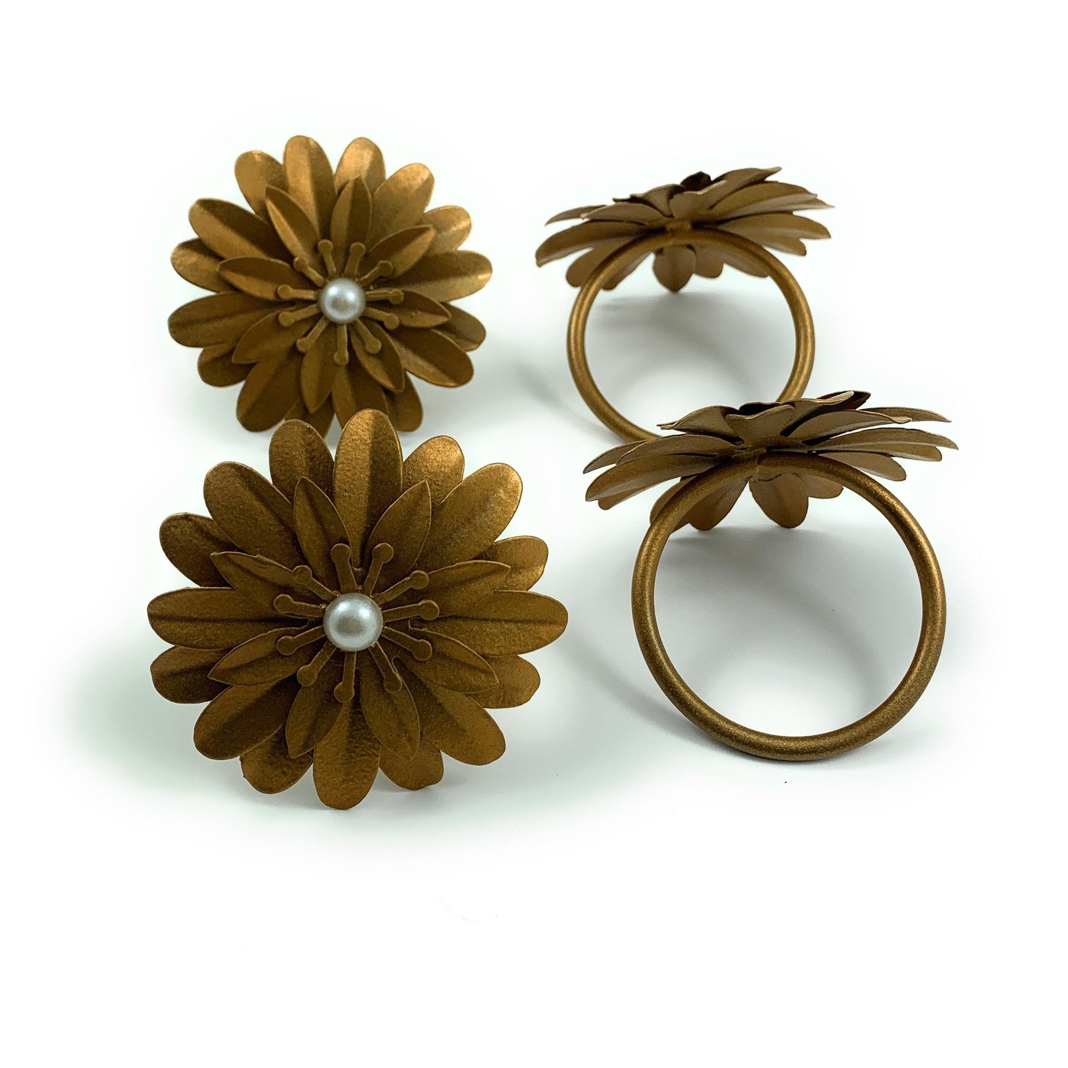 Flower Napkin Rings Set Of 4 Golden Pearl Overstock 31273115