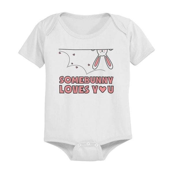 SomeBunny Loves You Funny Graphic Design Printed White Baby Bodysuit