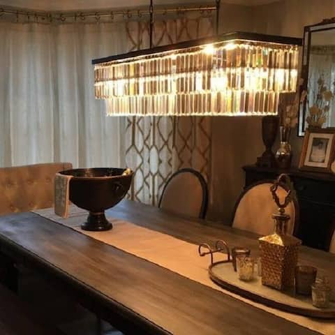 D'Angelo 40-inch Wrought Iron Rectangular Fringe Crystal Chandelier