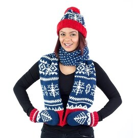 Hat Scarf Mittens Set, Holiday Christmas Winter Pattern, Blue Red White Green Grey
