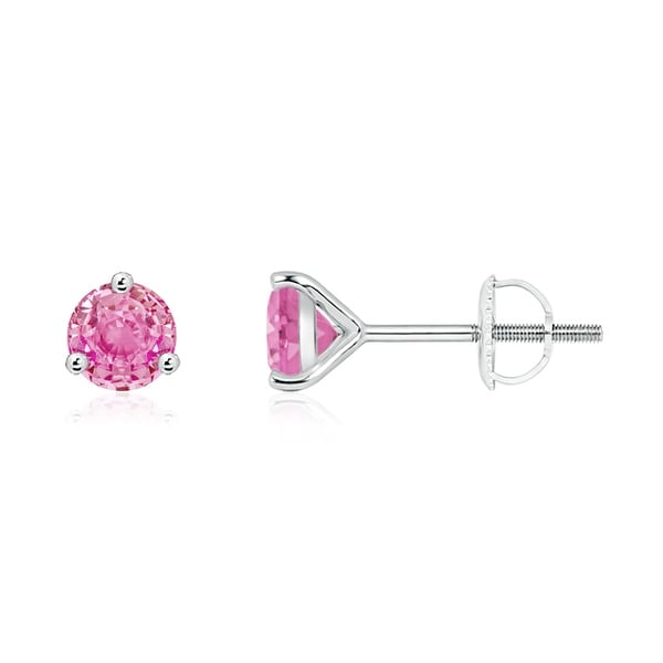 Angara Martini Setting Pink Sapphire Stud Earrings in Yellow Gold