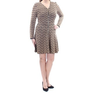 Womens Brown Black Chevron Long Sleeve Mini Fit + Flare Cocktail Dress Size: L