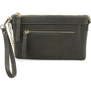Madison West Front Zip Women Synthetic Gray Wristlet