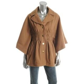 Aqua Womens Wool Blend Lined Cape Coat - S