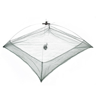 "Unique Bargains 29.9"" x 29.9"" x 4.7"" Umbrella Crab Bait Cast Lures Dip Fishing Net for Fishermen Green"