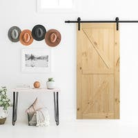 BELLEZE 36in x 84in Sliding Barn Door Unfinished Natural Knotty Pine Pre Drilled