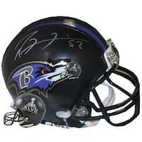 Ray Lewis signed Baltimore Ravens Riddell SB XLVIIRavens Mini Helmet 52 right side Ravens logosilve