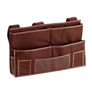 Heavyweight Polyester 10 Pocket Bedside Caddy (Brown)