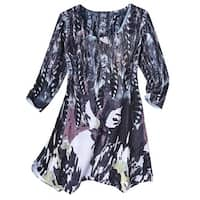 Women's Tunic Top - Feathers Infatuation Print with Rhinestone Bling
