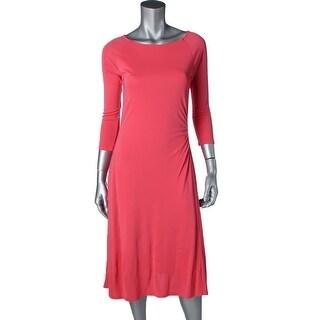 Lauren Ralph Lauren Womens Petites Casual Dress Ruched 3/4 Sleeves