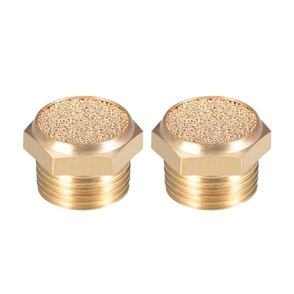 """Brass Exhaust Muffler, 3/8"""" G Male Thread Bronze Muffler w Brass Body Flat 2pcs"""