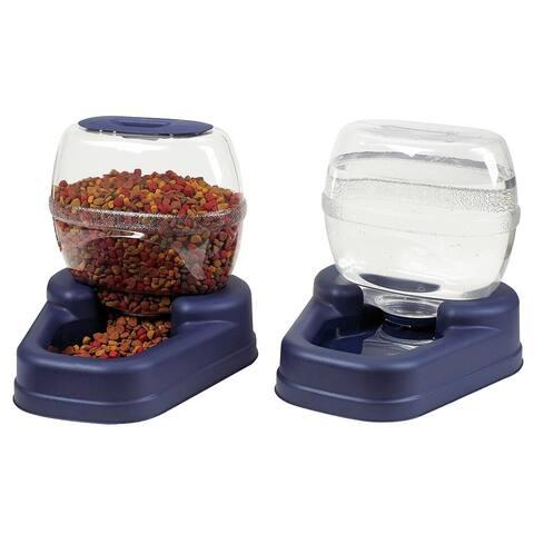 Bergan Petite Gourmet Combo Pack Pet Feeder and Waterer - Blue