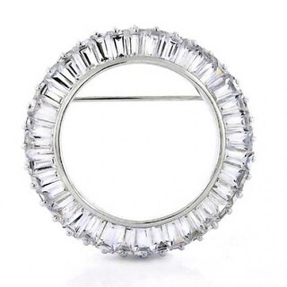 Bling Jewelry Sterling Silver Baguette CZ Circle of Life Pin Brooch