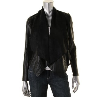 Kut Womens Faux Leather Long Sleeves Jacket