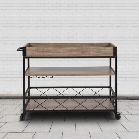 Aged Lt Oak Wood Kitchen Bar Cart with Stemware Rack & Panel Border Bottom Shelf