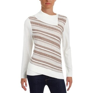 Alfred Dunner Womens Petites Mock Turtleneck Sweater Knit Striped