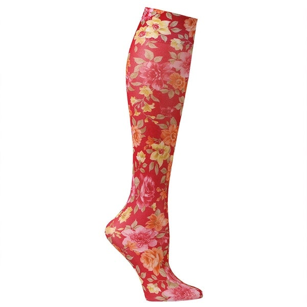 Celeste Stein Moderate Compression Knee High Stockings Wide Calf-Roses on Red - Medium