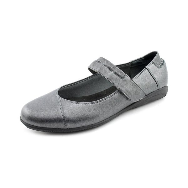 Walking Cradles Flair Women Round Toe Leather Gray Mary Janes