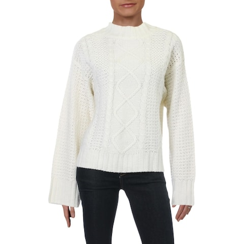 Alison Andrews Womens Mock Turtleneck Sweater Cable Knit Pullover - Ivory