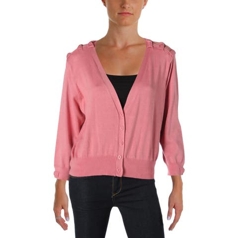 City Chic Womens Plus Cardigan Sweater Bow Long Sleeves