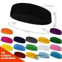 COUVER Premium Quality Large & Thick Basketball/Sports Headband 6 packs