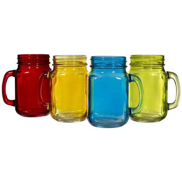 Palais Glassware Mason Jar Tumbler Mug with Handle - 16 Ounces - Set of 4 (Colored (Green/Blue/Orang