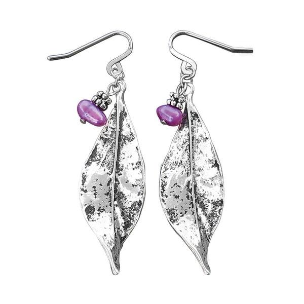 Women's Pearl 'n Leaf Silver Dangle Earrings