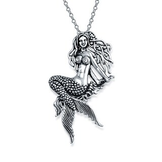 Bling Jewelry Crystal Celtic Sea Nymph Mermaid Pendant Moving Tail Silver
