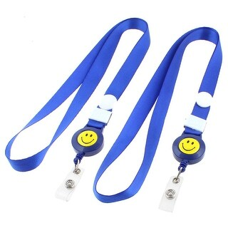 Position Name Exhibition Badge ID Card Holder Strap Lanyard Royal Blue 2pcs