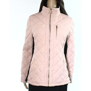 Calvin Klein NEW Pink Black Womens Size Small S Quilted Puffer Jacket