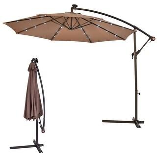 Costway 10u0027 Hanging Solar LED Umbrella Patio Sun Shade Offset Market W/Base  Tan