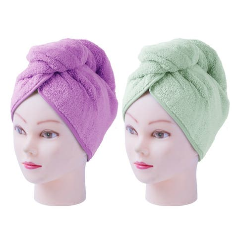 2pcs Quick Dry Hair Wrap Cap