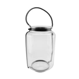 """18"""" Clear Glass Hurricane Candle Holder Lantern with Jet Black Metal Frame"""